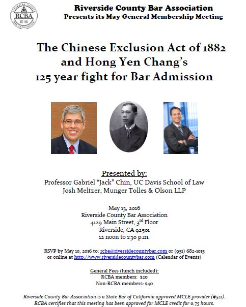 Faculty blog asian americans and the law jack chin to discuss hong yen chang case in riverside malvernweather Choice Image
